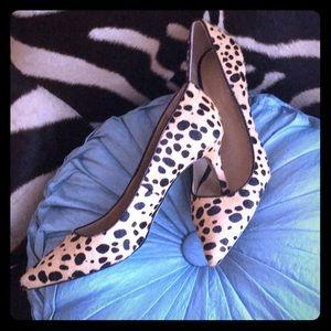 Anne Taylor kitten heel leopard print/hair shoes
